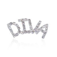 """Wholesale Words Rhinestones Pins - Wholesale- Silver Tone Clear Rhinestone Hand-made Brooch Jewelry """"DIVA"""" Word Pin"""