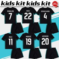 Wholesale Child Gold - Real Madrid soccer Jersey Kids Kit 17 18 Real Madrid away black Soccer Jerseys RONALDO RAMOS BALE Child Soccer Shirts uniform jersey+shorts