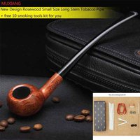 Wholesale Masculine Gifts - Wholesale- MUXIANG 10 Tools Kit Long Stem Bent Rosewood Smoking Pipe for Reading Tobacco Smoking Pipe Masculine Gift Father's Day ad004
