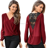 Wholesale Chiffon Blouses Designs - Newly Design Women Casual V-neck Tops Long Sleeve Back Hollow Lace Blouse Loose Shirt 160315 Drop Shipping