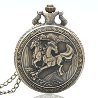 Wholesale Chinese Horse Bronzes - Wholesale-Retro Bronze Double Horses Design Chinese Style Quartz Pocket Watch With Necklace Chian Gift Drop Shipping