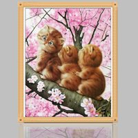 Wholesale Oil House - 5D DIY diamond Painting Cats Cross Stitch diamond embroidery mosaic diamonds house decoration DIY Gift to Kids