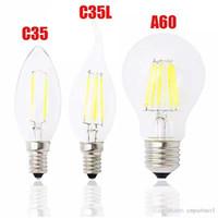 Wholesale E14 Lamp 8w - Classic E27 E14 E12 Dimmable led Filament bulb 4w 8w 12w 16w High Power Glass globe bulb Retro led Edison lamp candle lights