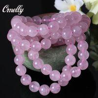 Wholesale Pink Rose Quartz Gemstone - Rose Quartzs, Genuine Natural Semi-Precious Gemstone Rose Quartz Light Pink Crystal Bracelet Bead Jewelry Fashion Low Price