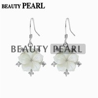 5 Pairs Sterling Silver Earring Findings Flower Charm White Shell Zircon Ear Ganchos Bobinas Fishhooks Brinco Pearl Mount