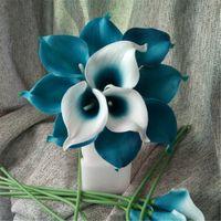 Wholesale real touch flower arrangement - Oasis Teal Wedding Flowers Teal Blue Calla Lilies 10 Stem Real Touch Calla Lily Bouquet Wedding Centerpieces Arrangement Decorate
