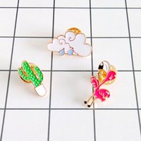 модная одежда оптовых-Wholesale- Free Shipping Cartoon Cute Cactus Clouds Bird Brooch Pins Button Pins Jeans Clothes Decoration Fashion Jewelry Women Girl Gift