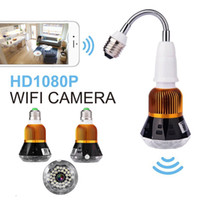 cámaras ocultas lámparas al por mayor-WIFI Led Bulb Cámara IP Oculta P2P Full HD 1080P Visión Nocturna Espía Home Security lamp Cam Video Vigilancia Remota Cámara CCTV