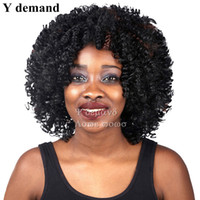 Wholesale Short Afro Kinky Curl - Charming Short Afro Kinky Curly Wig In Stock Cheap BOB Heat Resistant Synthetic Curl None Lace Hair Wigs for Black Women
