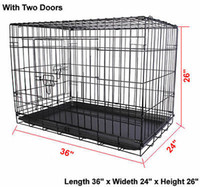 Crates black kennel - 36 Doors Wire Folding Pet Crate Dog Cat Cage Suitcase Kennel Playpen With Tray