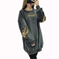 samt paillettenkleider frauen lang großhandel-S-3XL Frauen Langarm Brief Besticktes Sweatshirt Kleid Adler Pailletten Warme Hoodie Frauen Koreanische Mode Kleider Plus Samt