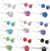 Wholesale purple shamballa bracelets - 10Pcs lot 10mm crystal best clay hotsale disco bead Rhinestone shamballa Set necklace studs earrings drop jewelry set e2425 w62