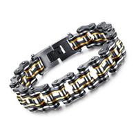 ingrosso braccialetti della catena della bicicletta per gli uomini-Polso in metallo pesante da 15mm largo in titanio con catena da bicicletta per bracciali Uomo da 8,27 pollici di polacca alta