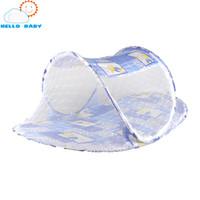 Wholesale Baby Pillow For Infants - Wholesale-summer baby bed mosquito net tent folding neting pillow mat infant cushion matress convenient zipper for chilidren green blue