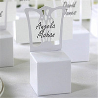Wholesale Place Card Chair Favor Box - Wholesale- 2016 New 100pcs lots Chair Place Card Holder and Favor Box best for candy boxes and wedding favors box,event party supplies