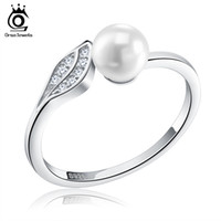 Wholesale Reliable Jewelry - ORSA JEWELS Silver 925 Leaf CZ Rings Reliable with Big Simulated Pearl Sterling Silver Jewelry for Women SR16
