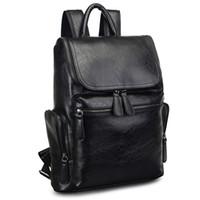 kahverengi okul çantaları toptan satış-2017 Marka Tasarımcı Erkek Deri Sırt Çantası erkek Okul Sırt Çantası Bagpack Mochila Feminina Siyah kahverengi Seyahat Çantası Omuz çantası