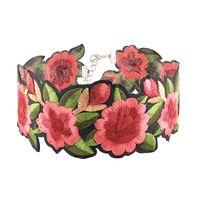 Wholesale Flower Bib Necklace Silver - New Fashion Beautiful Women Bohemia Embroidery Rose Flowers Bib Choker Necklace Charm Jewelry Gifts Free Shipping