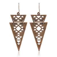 Wholesale Triangle Metal Studs Gold - Geometry Hollow Triangle Earrings Metal Ancient gold Drop Earrings for women girls Fashion Boho Turkish Ethnic Jewelry for party