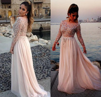 Wholesale Dresses Celebrity Model Elie Saab - Hot Sale 2017 Elie Saab Formal Celebrity Evening Dresses Sheer Neck Long Sleeves Illusion Bodice Floor Long Plus Size Arabic Prom Gowns