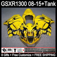 Wholesale Gsxr Black Yellow - 8gifts For SUZUKI Hayabusa GSXR1300 2008 2009 2010 2011 black flames 14MY54 GSXR-1300 GSX R1300 GSXR 1300 2012 2013 2014 2015 yellow Fairing