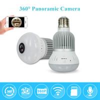 Wholesale Wi Fi Hidden Camera - Wireless fisheye lamp ip ligh bulb camera 960P 360 degree Mini CCTV VR Camera 1.3MP Home Security WiFi Hidden Camera Motion Detection