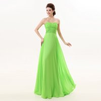 Wholesale Navy Custome - 2017 New Arrival Elegant A Line Green Off Shoulder Sleeveless Chiffon Ruffle Custome Made Floor Length Cheap Prom Gowns