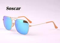 Wholesale Boxes For Flash Drives - Soscar CARAVAN Sunglasses Square Metal Frame Flash Mirror Lenses Sunglasses for Men Brand Designer Sunglasses 58mm 3136 Free Leather Box