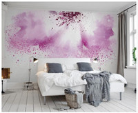 Wholesale 3D wallpaper custom d wall murals wallpaper Pink Purple Creative Watercolor Abstract Painting Flower TV Background Wall paper room decor