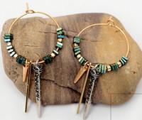 Wholesale Handmade Earrings Designs - Women's Bohemia Retro Style Emerald Dangle Earrings Natural Ore Texture stone Chandelier Earrings Original Design Handmade Delicate Earrings
