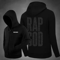 Wholesale Mens Zip Up Hoodie Black - 2017 New Rap God Eminem Hoodies Fleece Zip Up Cardigans Mens Hiphop Rapper Hoodie Streetwear Hoody Free Shipping
