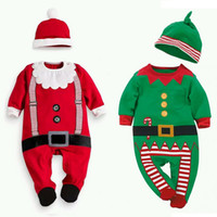 Wholesale Kids Santa Claus Pajamas - Baby Christmas pajamas outfits Kids Christmas romper+hat 2pcs sets children Santa Claus Clothing Sets top quality