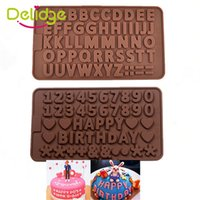 Wholesale Double Chocolate Moulds - 20 pc 3D Double 26 Letters Shape Or 0-9 Numers Chocolate Molds Happy Birthday Words Cake Mold Pudding Dessert Decoration Mould