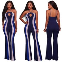 Sexy Royal Blue Microfiber Spaghetti Strap Liebsten Ausschnitt Thick Striped Lange Flared Pant Party Club Skinny Overalls für Frauen 2017 Fall