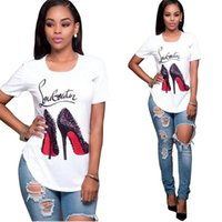 Wholesale Woman S Heels - Free Shipping 2017 Summer Cotton Women 3D Digital Sexy High Heels Printing T-shirt For Women White Short Sleeve T Shirt