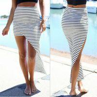 Wholesale Maxi Skirt Stripes - 2017 New Fashion Women Summer Beach Bandage Pencil Skirt Side Split Black White Stripes Irregular Sexy Long Maxi Skirts
