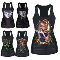 Wholesale Women Gothic T Shirts - Wholesale-Brand New Gothic Punk Vest Women Pattern Print Clubwear Sleeveless T-Shirt