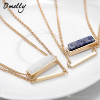 Wholesale Gps Pendant - Stylish Fashion Kendra Inspired Jewelry Necklace Double Layers GP Gemstone Pendant Chains Charm Wholesale in Bulk