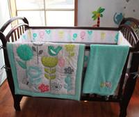 Wholesale 3d Bedding Set Sunflower - NAUGHTYBOSS Baby Bedding Set Cotton 3D Embroidery Sunflower Butterfly Bird Flower Quilt Bumper Mattress Cover 7 Pieces Sky Blue