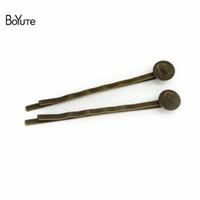Wholesale Diy Clips Antique Bronze - BoYuTe 50 Pieces 8MM Cabochon Base Pad Hairpin Vintage Antique Bronze Plated Women Diy Hair Clips