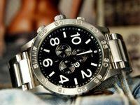 серебряные часы оптовых-Большой размер Полный нержавеющая сталь серебро розовое золото часы мужчины кварцевые хронограф человек наручные часы мода часы мужчины хороший подарок часы для мужчин