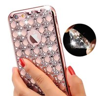 Wholesale Silver Diamond Phone Cases - Fashion Electroplate Diamond Soft Case Electroplating diamond carnelian phone cases Soft cover for iphone 6 6s plus 7 7plus Samsung S6 S7