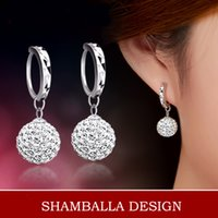 Wholesale Birthday Crystal Ball Gift - Women Fashion 925 Sterling Silver Full Crystal Ball Drop Dangle Earrings Jewelry for mon girlfriend birthday gift