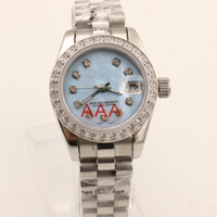 Wholesale Womens Watch Clasp - AAA Superlative luxury Automatic lady's Diamonds Blue Dial Stainless Folding Clasp womens sapphire Mechanical just watch 26MM