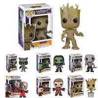 Wholesale Marvel Bobble Heads - FUNKO POP Guardians Of The Galaxy Toys Figure doll Dancing GROOT Marvel Bobble Head Mask Star Lord Rocket Raccoon Gamora Drax