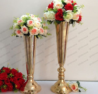 Wholesale tall wholesale wedding vases - Elegant Slim tall metal flower 50cm  60cm Gold Wedding flower vase Wedding decoration wedding centerpiece wedding pillar GLO1612