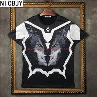 Wholesale Marcelo Burlon T Shirt - 2017 summer fashion brand tag mens clothing marcelo burlon 3D wolf print casual cotton t-shirt kanye west tshirt tee tops