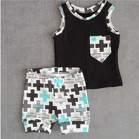 Wholesale Organic Baby Clothes Free Shipping - Baby Toddler Boys Clothes Pocket Tops Vest and Pants 2pcs Outfits Clothes Set hight quality free shipping