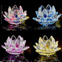 Wholesale Paperweights Gifts - 100mm K9 Crystal Lotus Flower Crafts Feng Shui Ornaments Figurines Glass Paperweight Party Gifts Wedding Decoration Souvenirs LZ0058