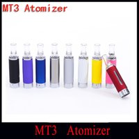Wholesale New Bottom Heating Coil Evod - Wholesale- New MT3 Atomizer eGo Cartomizer Bottom Coil Heating many Colors Evod Clearomizer for Electronic Cigarette Free Shipping(5pc YY)